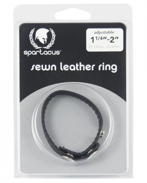 Plain Joe Sewn Leather Cock Ring with Snaps Black