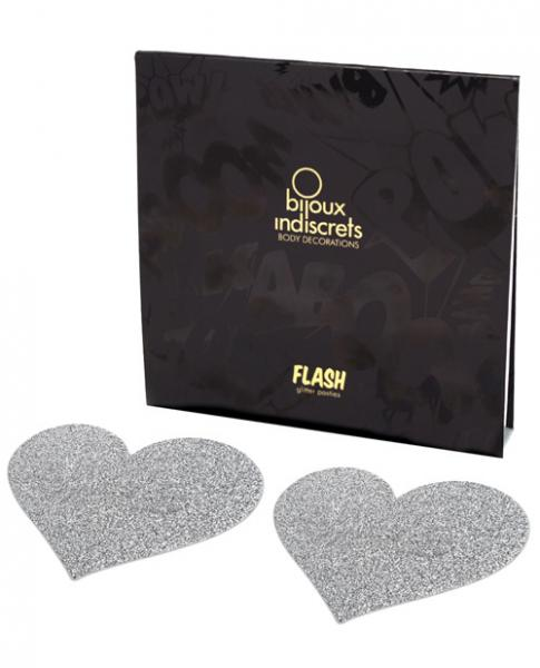 Flash Heart Pasties Silver