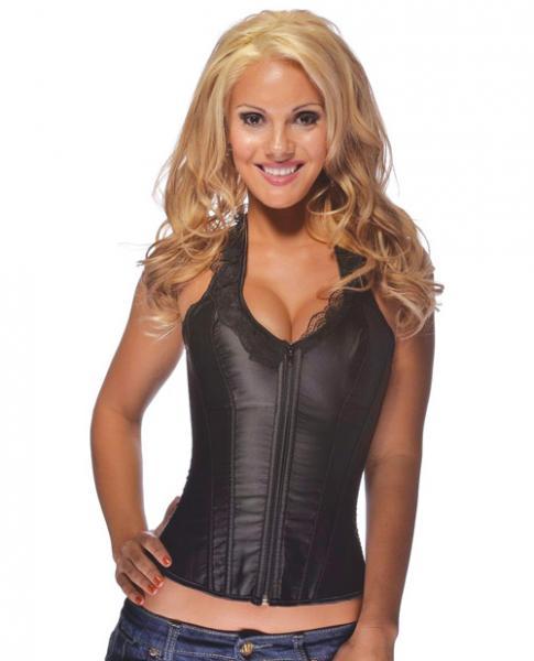 Halter Corset Lace Top, Zip Up Front Black 2-4