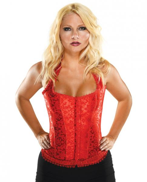 Halter Floral Print Corset Acrylic Boning Red 32