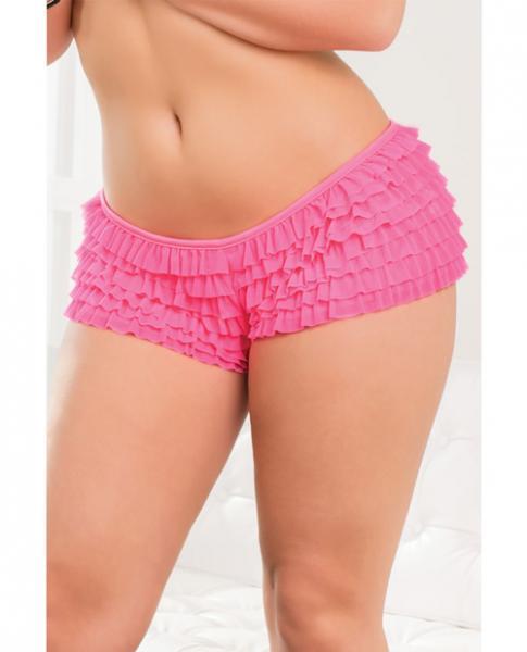 Ruffle Shorts Back Bow Detail Neon Pink XXL