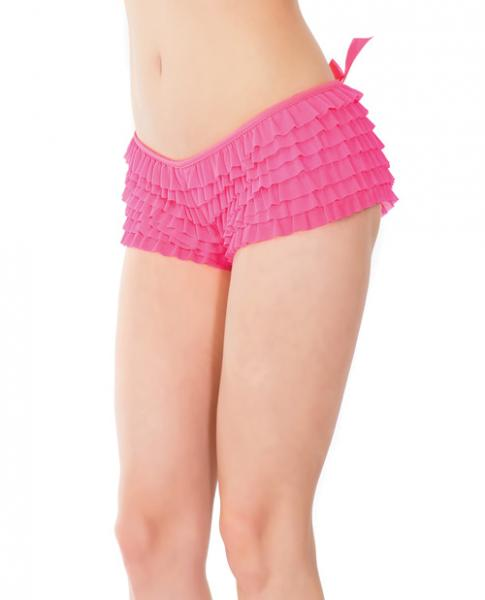 Ruffle Shorts Back Bow Detail Neon Pink OS/XL