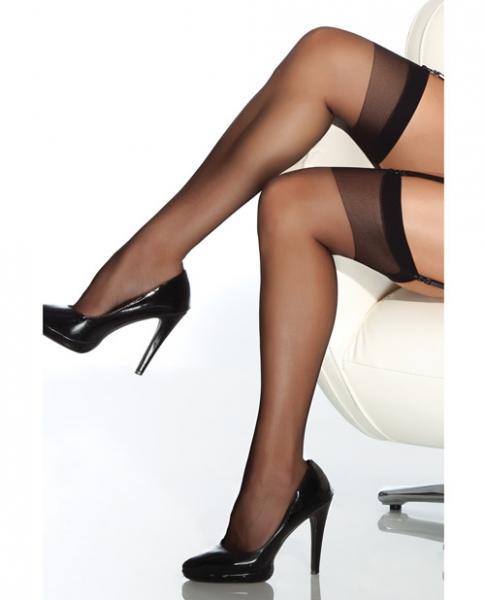 Sheer Thigh High Stockings Black O/S