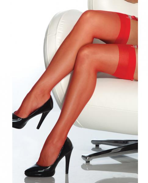 Sheer Thigh High Stockings Red XL