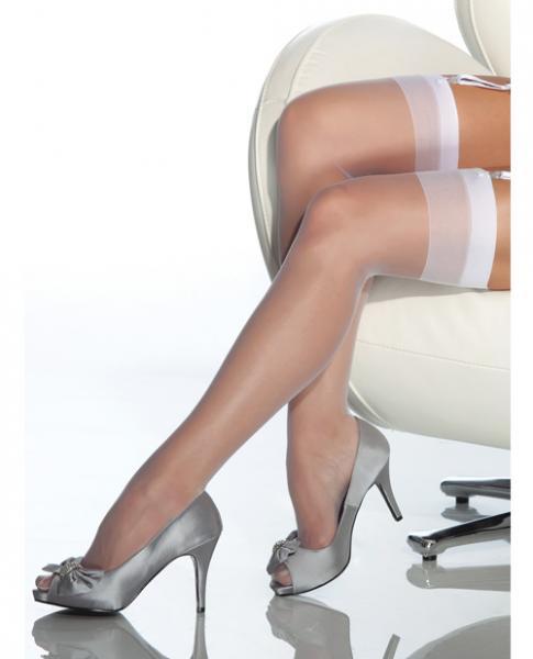 Sheer Thigh High Stockings White XL