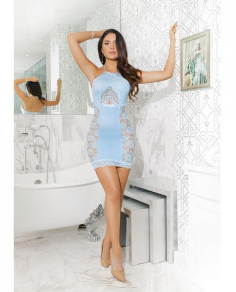 Lace Knit Halter Chemise Empire Waist Blue O/S