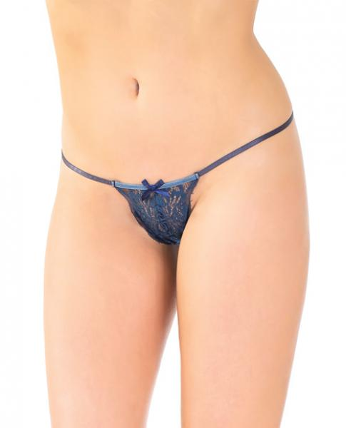 Stretch Lace Adjustable G-String Front Bow Navy O/S