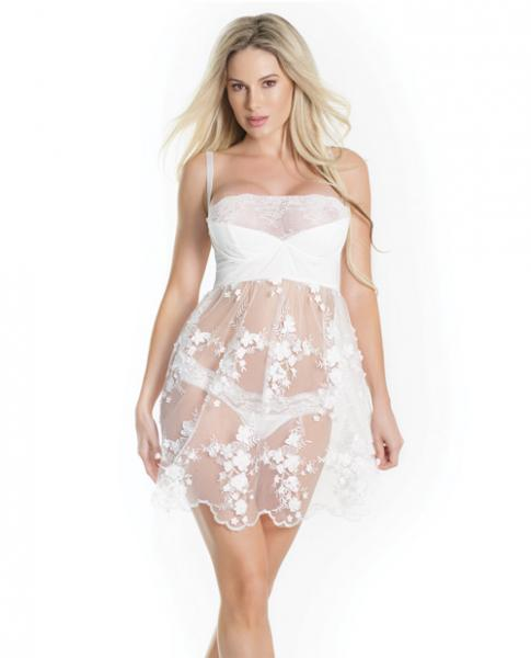 Lightly Padded Demi Cup Tulle Babydoll 3D Floral Detail & Thong White Lg