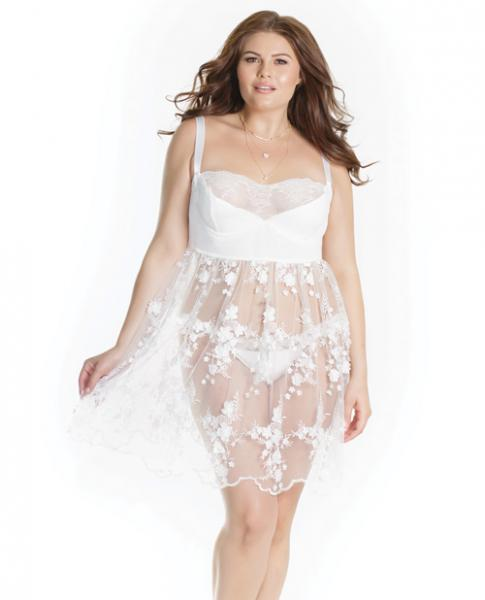 Lightly Padded Demi Cup Tulle Babydoll 3D Floral Detail & Thong White 1X/2X