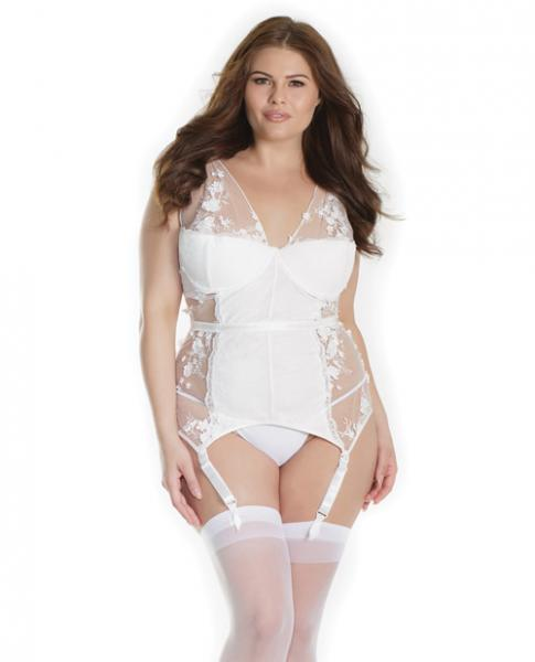 Lightly Padded Bustier 3D Floral Details & Garters White 1X/2X