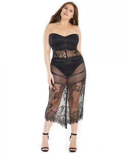 Lightly Padded Shelf Cup Dress High Waist Panty Black 1X/2X