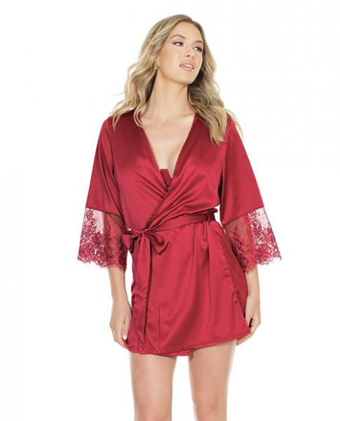 Stretch Satin Robe Lace Details Sleeves Red O/S