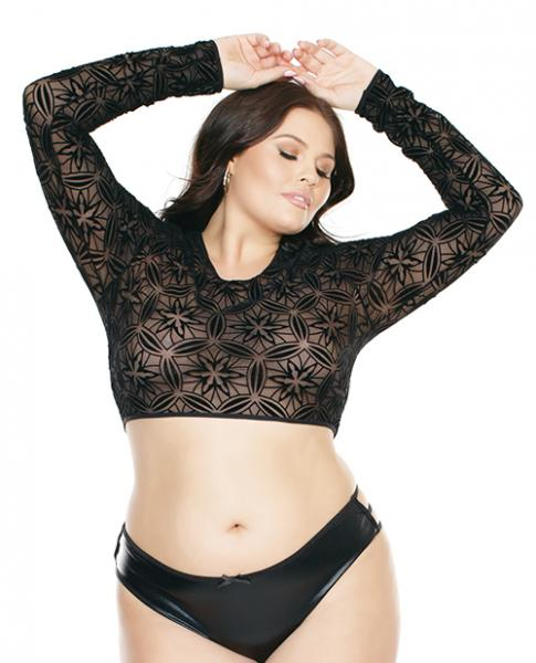 Long Sleeve Midriff Crop Top Black OS/XL