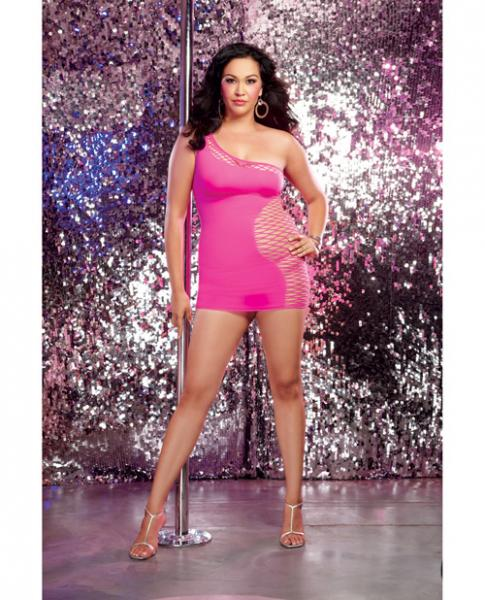 Seamless One Shoulder Dress & G-String Neon Pink Qn