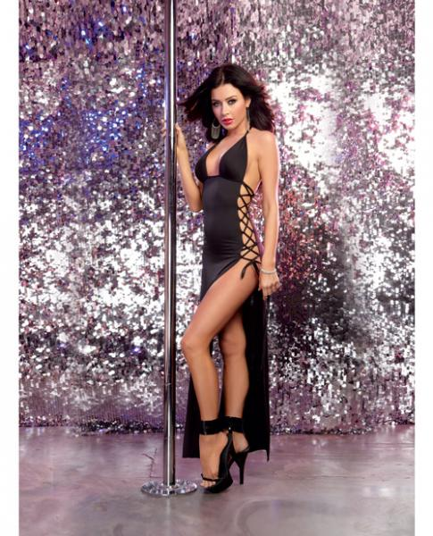 Stretch Jersey Halter Dress Lace Up Ties Black O/S