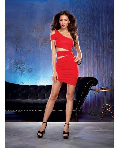 Jersey One Shoulder Dress Peek A Boo Midriff Red L