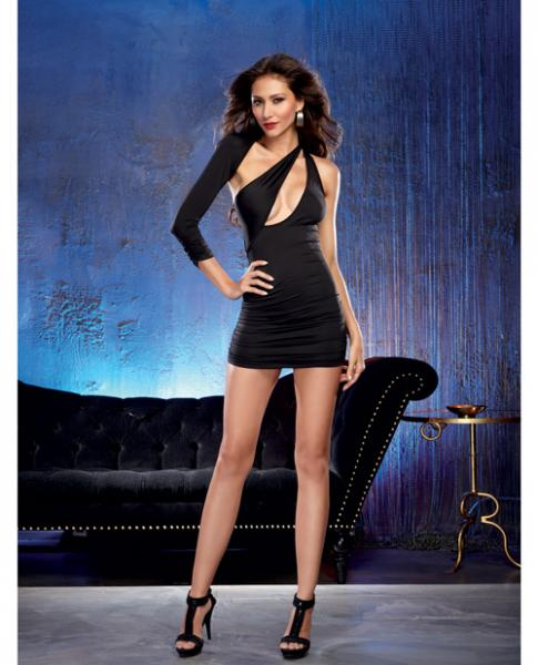 Jersey One Sleeved Dress Ruching Black S