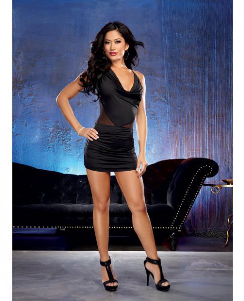 Jersey Cowl Neck Mini Dress Ruched Black Medium