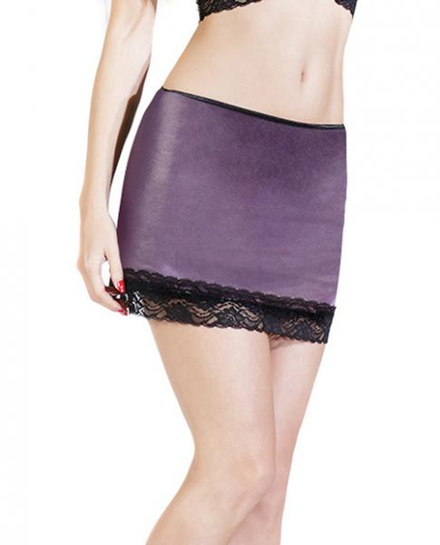 Wet Look Skirt Scalloped Stretch Lace Trim Purple XL