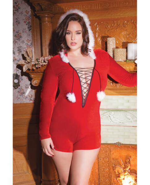 Holiday Velvet Hooded Romper Trim, & Pom Poms Red Qn
