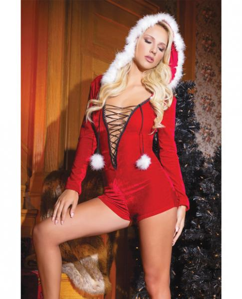 Holiday Velvet Hooded Romper Trim, & Pom Poms Red OS