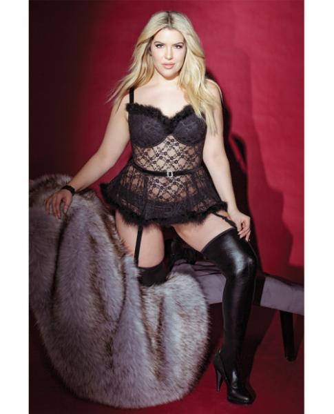 Holiday Sheer Lace Bustier Removable Garters Black 1X/2X