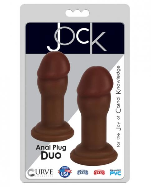 Jock Anal Plug Duo 2 Piece Set Chocolate Brown