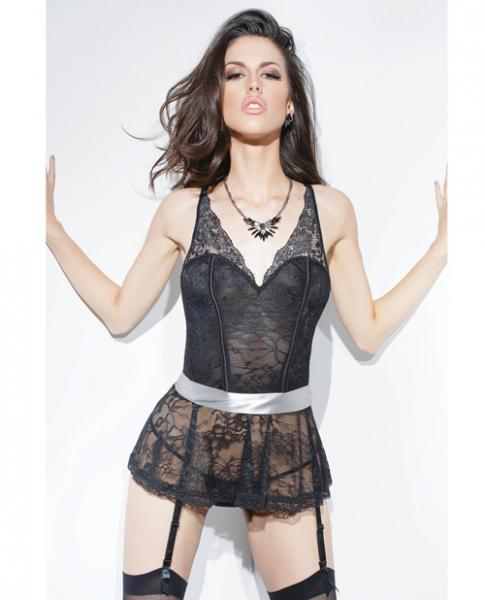 Stretch Lace Peplum Corset Ribbon Belt & Garters Black/Silver Lg