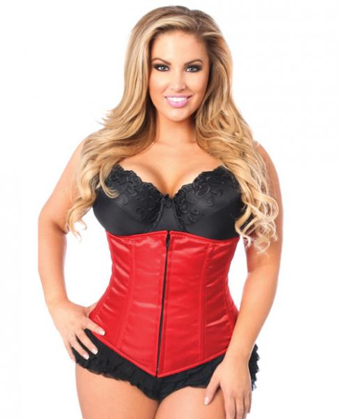Underbust Corset Zip Up Front Red 2X