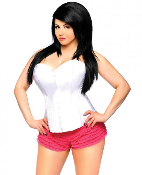 Overbust Corset Zip Up Front White 6X
