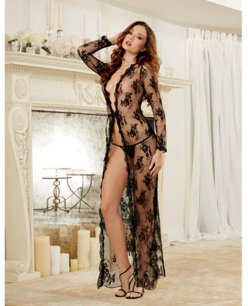 Delicate Lace Open Front Gown, G-String Black Md