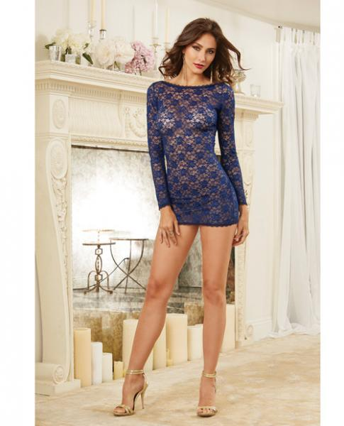Stretch Lace Long Sleeve Tunic Open Back & Criss Cross Straps Blue XL