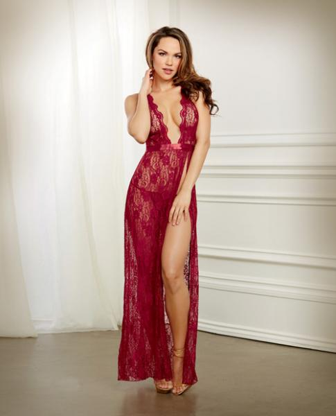 Holiday Lace Gown & G-String Garnet Small