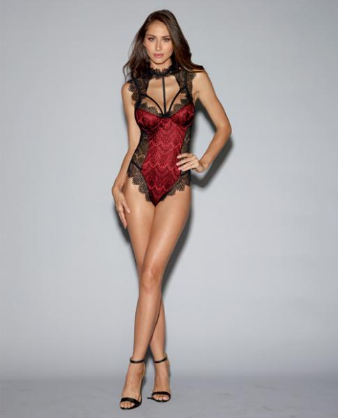 Satin Teddy Underwire Cups & Lace Overlay, Tie Back Collar Black Red Md