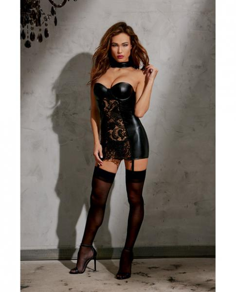 Faux Leather Collared Slip Zipper & Garters Black Md