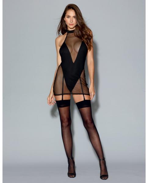 Two Layer Garment, Fishnet Halter Chemise Teddy Black XL