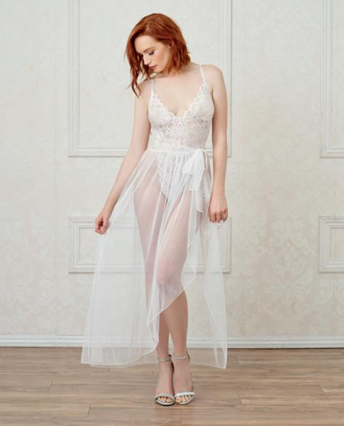 Lace Teddy, Mesh Maxi Skirt & G-String White Sm