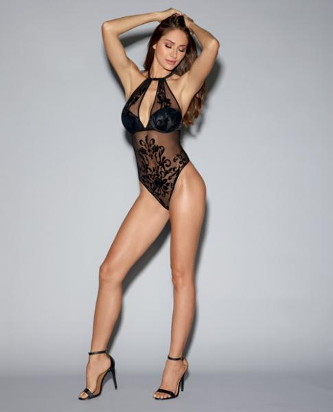 Mesh Teddy Adjustable Straps, Underwire Cups & Snap Crotch Black XS
