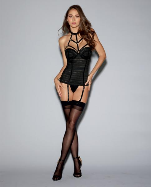 Bandage Style Bustier Underwire Cups, Garters Black 32