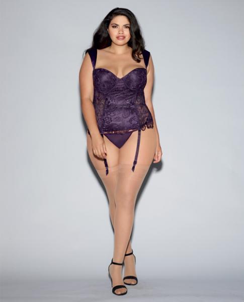 Lace Bustier, Mesh Partial Satin Lining, Boning, Garters Purple 44