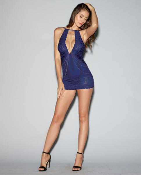 Lace, Mesh Chemise & Thong Midnight Blue Sm