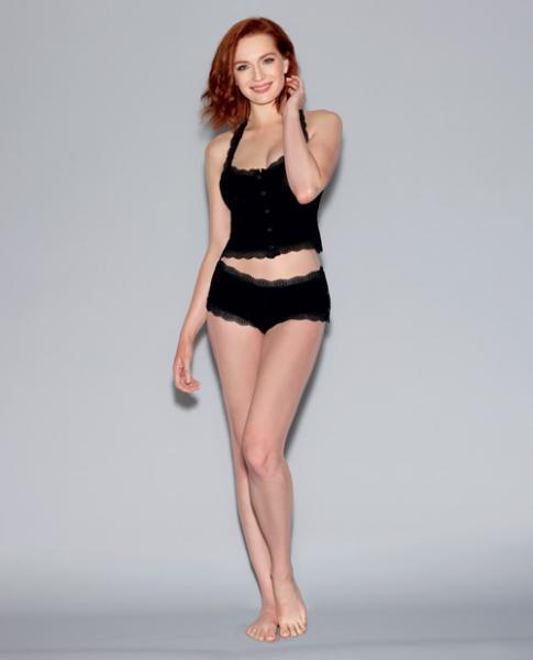 Spandex Jersey Camisole Lace T-Black Strap & Snap Side Panty Black Md