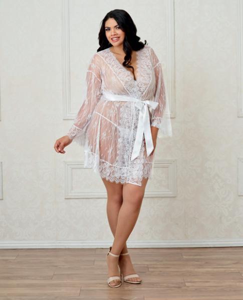 Long Sleeve Lace Kimono Robe Eyelash Trim & Satin Belt White 2X
