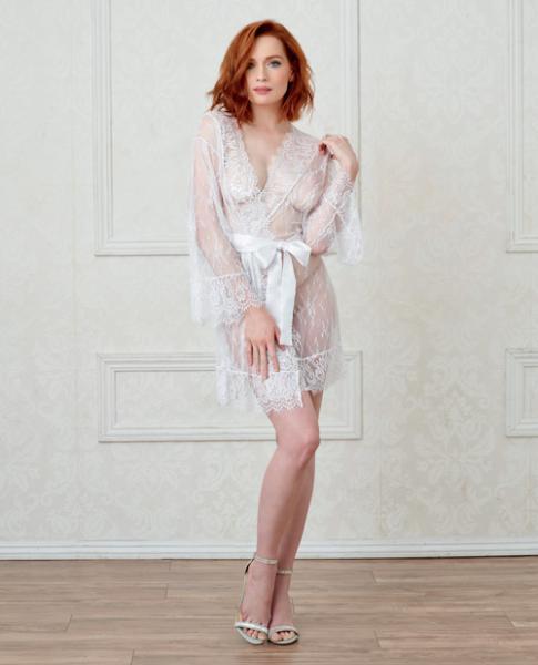 Long Sleeve Lace Kimono Robe Eyelash Trim & Satin Belt White Sm
