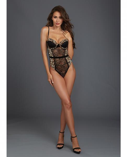Lace, Mesh Underwire Molded Cup Teddy Cheetah, Black Md
