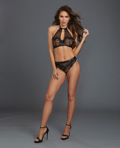 Lace, Sheer Mesh Halter Underwire Bra & Thong Black Lg
