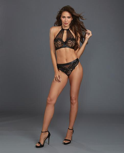 Lace, Sheer Mesh Halter Underwire Bra & Thong Black Md