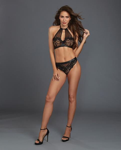 Lace, Sheer Mesh Halter Underwire Bra & Thong Black XL