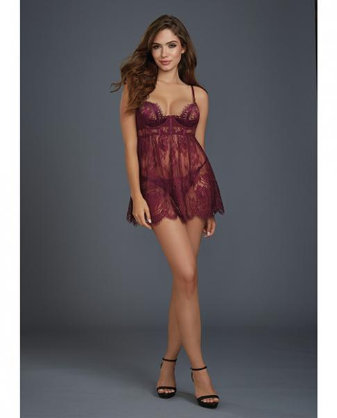 Lace Babydoll Underwire Cups & Thong Purple Md