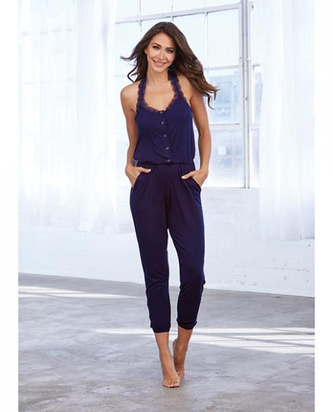 Soft Knit Jersey Sleepwear Jumpsuit Eggplant Sm